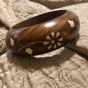 Vintage Boho Wooden Bangle Bracelet
